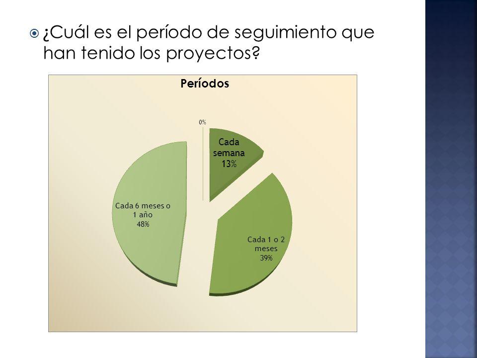 ¿ Cuál es el período de seguimiento que han tenido los proyectos?
