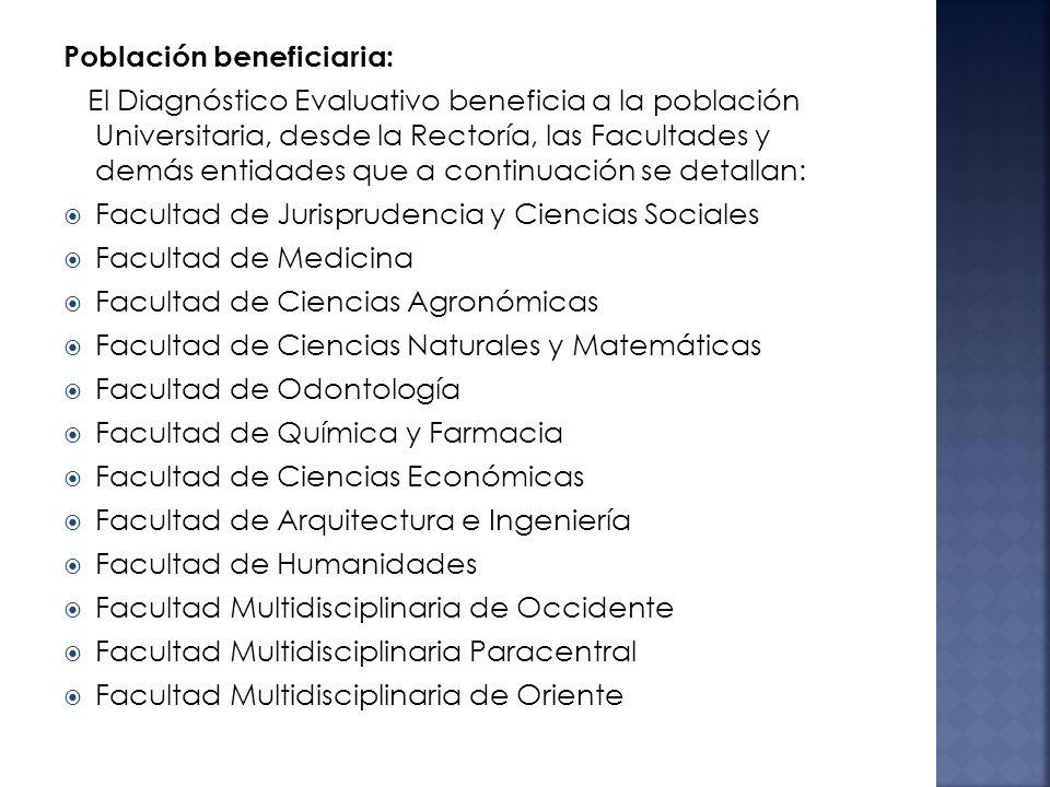 Población beneficiaria: El Diagnóstico Evaluativo beneficia a la población Universitaria, desde la Rectoría, las Facultades y demás entidades que a co