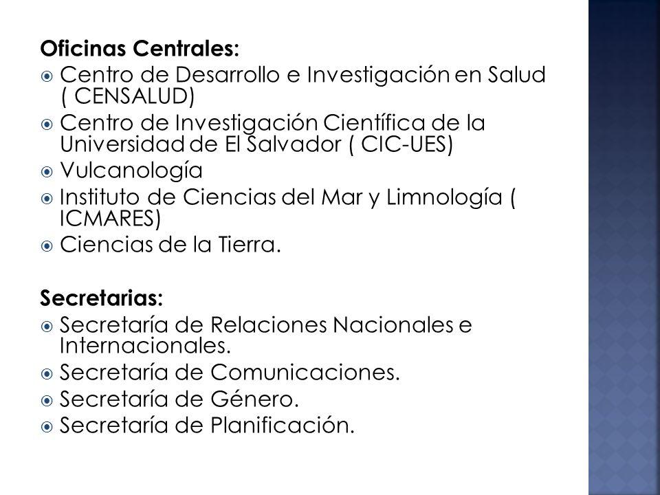 Oficinas Centrales: Centro de Desarrollo e Investigación en Salud ( CENSALUD) Centro de Investigación Científica de la Universidad de El Salvador ( CIC-UES) Vulcanología Instituto de Ciencias del Mar y Limnología ( ICMARES) Ciencias de la Tierra.
