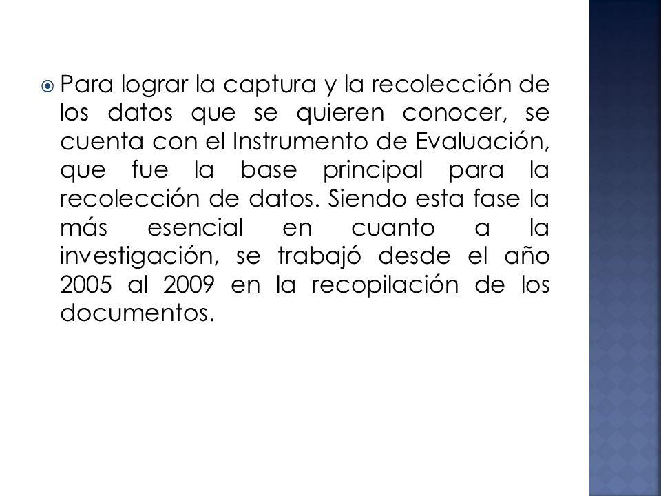 Para lograr la captura y la recolección de los datos que se quieren conocer, se cuenta con el Instrumento de Evaluación, que fue la base principal par