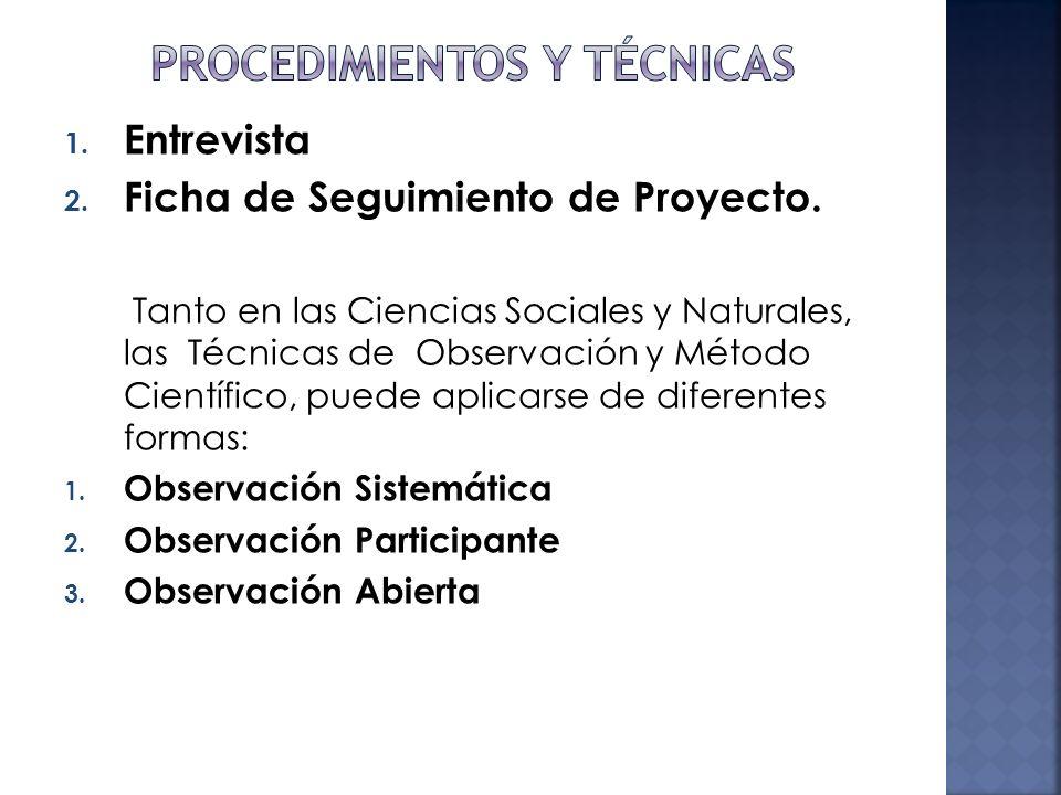 1. Entrevista 2. Ficha de Seguimiento de Proyecto. Tanto en las Ciencias Sociales y Naturales, las Técnicas de Observación y Método Científico, puede