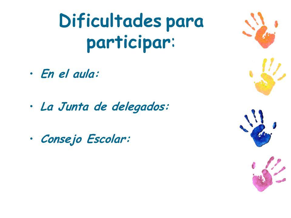 Dificultades para participar: En el aula: La Junta de delegados: Consejo Escolar: