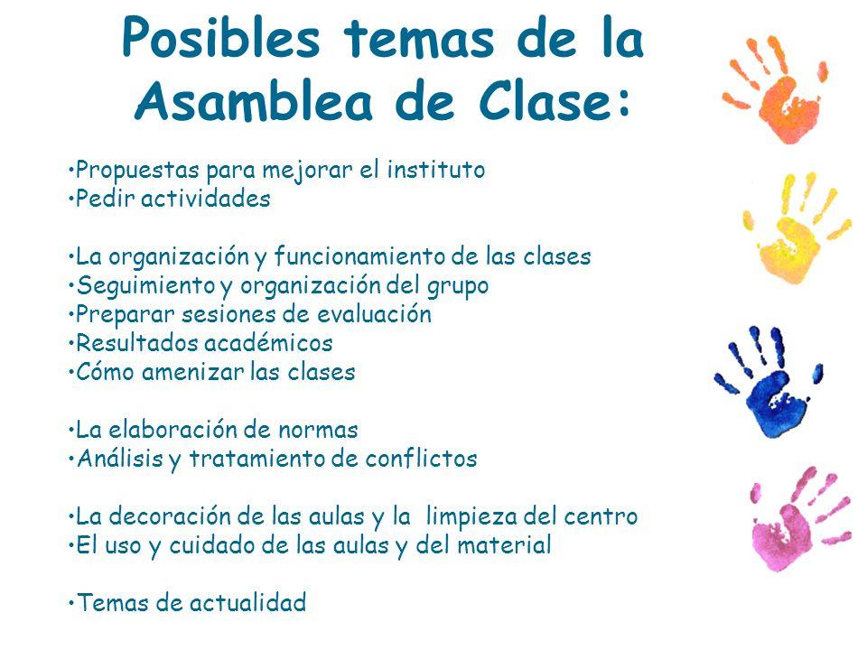 Posibles temas de la Asamblea de Clase: Propuestas para mejorar el instituto Pedir actividades La organización y funcionamiento de las clases Seguimie