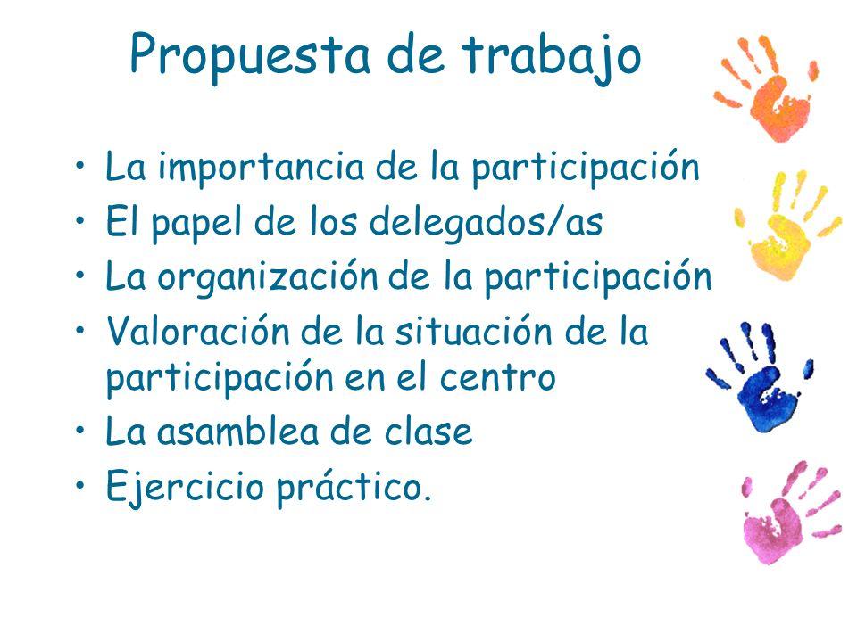 Propuesta de trabajo La importancia de la participación El papel de los delegados/as La organización de la participación Valoración de la situación de