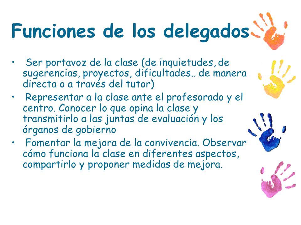 Funciones de los delegados Ser portavoz de la clase (de inquietudes, de sugerencias, proyectos, dificultades.. de manera directa o a través del tutor)