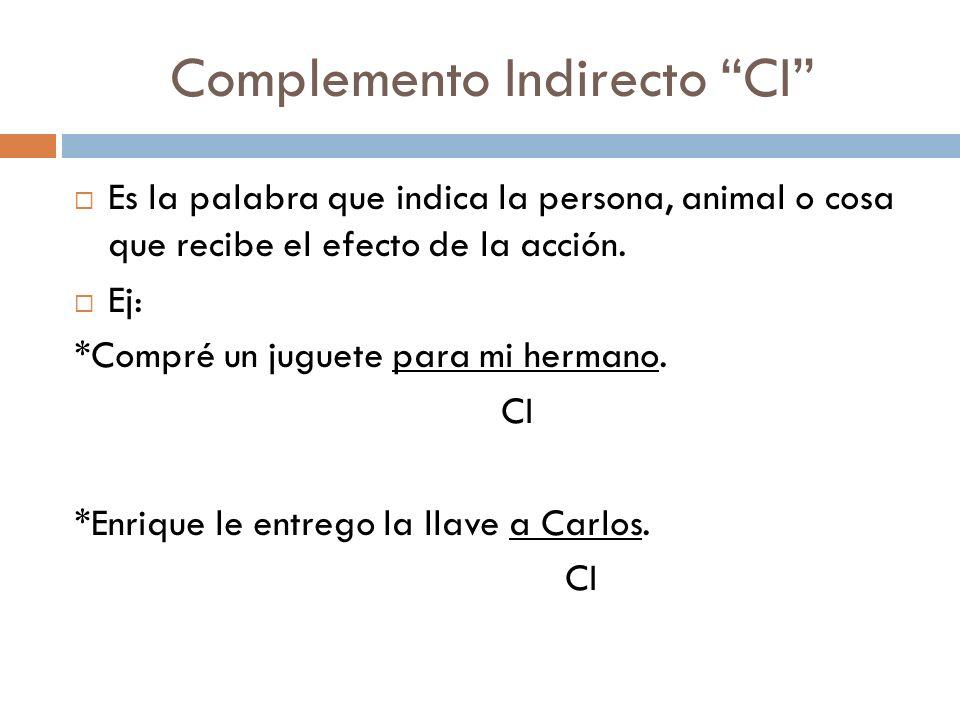 Complemento Indirecto CI Es la palabra que indica la persona, animal o cosa que recibe el efecto de la acción.