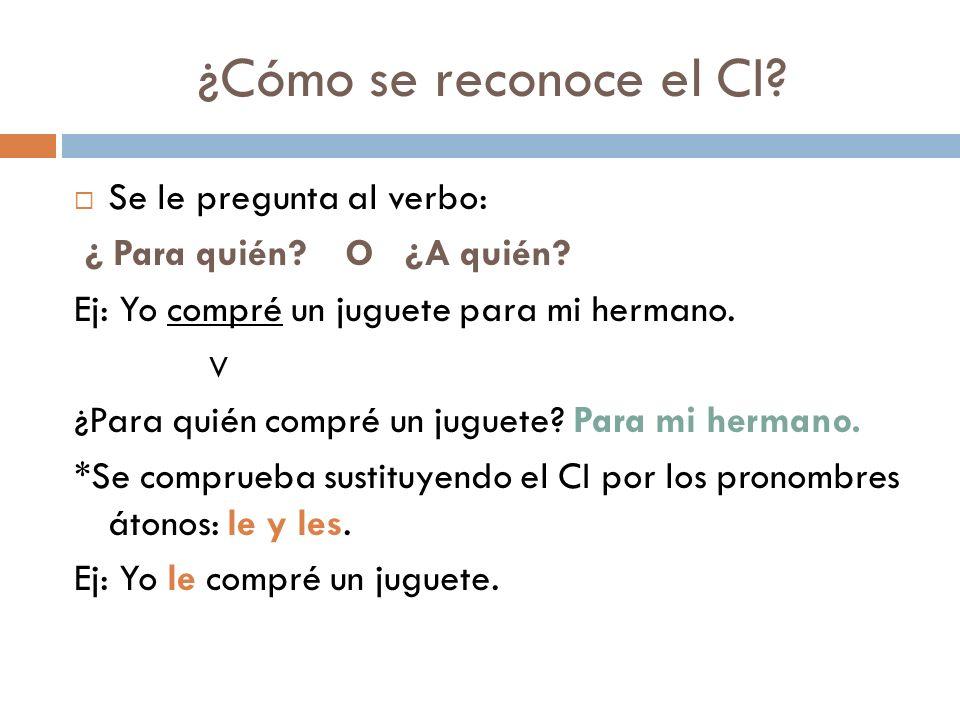 ¿Cómo se reconoce el CI.Se le pregunta al verbo: ¿ Para quién.