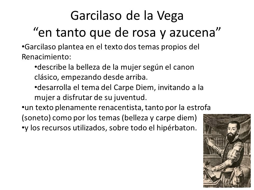 Garcilaso de la Vega en tanto que de rosa y azucena Garcilaso plantea en el texto dos temas propios del Renacimiento: describe la belleza de la mujer