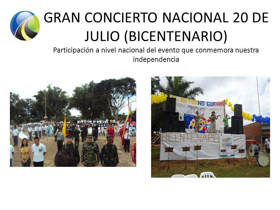 GRAN CONCIERTO NACIONAL 20 DE JULIO (BICENTENARIO) Participación a nivel nacional del evento que conmemora nuestra independencia