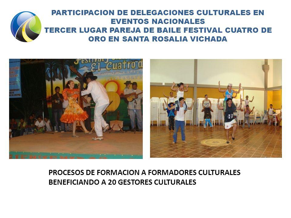 PARTICIPACION DE DELEGACIONES CULTURALES EN EVENTOS NACIONALES TERCER LUGAR PAREJA DE BAILE FESTIVAL CUATRO DE ORO EN SANTA ROSALIA VICHADA PROCESOS DE FORMACION A FORMADORES CULTURALES BENEFICIANDO A 20 GESTORES CULTURALES