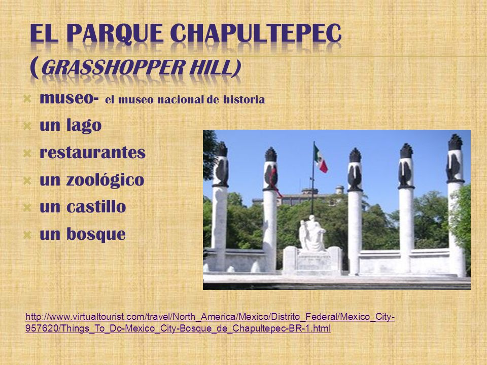 museo- el museo nacional de historia un lago restaurantes un zoológico un castillo un bosque http://www.virtualtourist.com/travel/North_America/Mexico/Distrito_Federal/Mexico_City- 957620/Things_To_Do-Mexico_City-Bosque_de_Chapultepec-BR-1.html