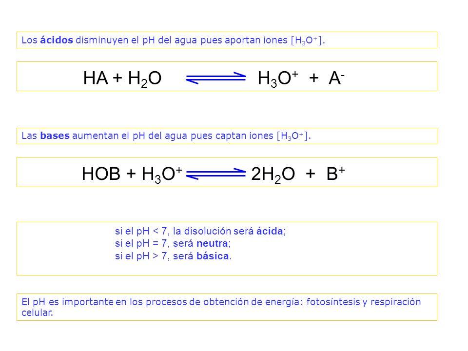 + - Los ácidos disminuyen el valor del pH del agua pues aportan iones [H 3 O + ].