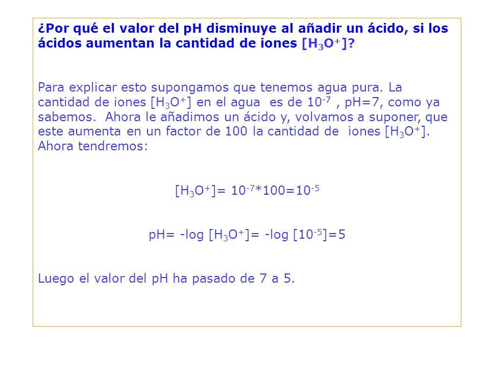 + + Las bases aumentan el valor del pH del agua pues captan iones [H 3 O + ].
