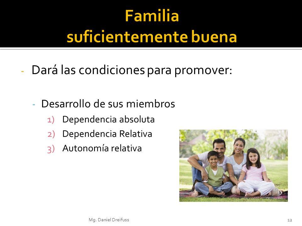 - Dará las condiciones para promover: - Desarrollo de sus miembros 1)Dependencia absoluta 2)Dependencia Relativa 3)Autonomía relativa Mg. Daniel Dreif