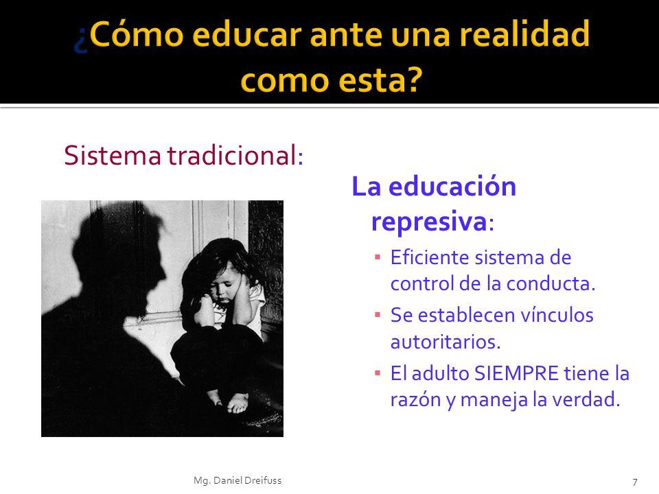 La educación represiva: Eficiente sistema de control de la conducta. Se establecen vínculos autoritarios. El adulto SIEMPRE tiene la razón y maneja la