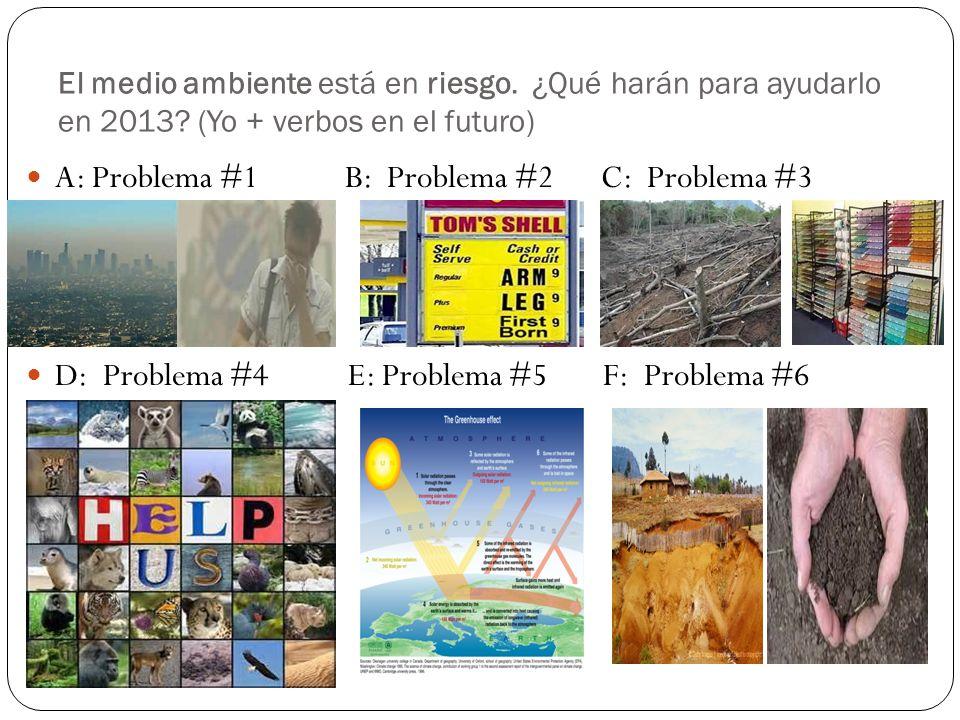 El medio ambiente está en riesgo. ¿Qué harán para ayudarlo en 2013? (Yo + verbos en el futuro) A: Problema #1 B: Problema #2 C: Problema #3 D: Problem