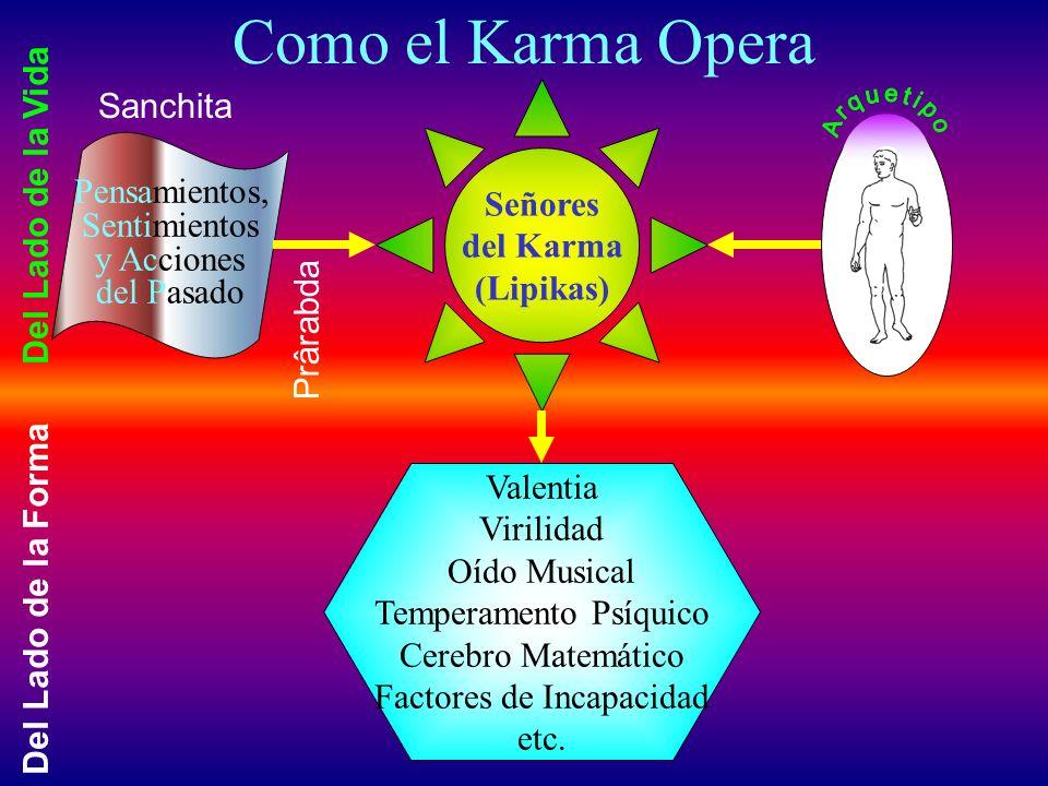 La LEY del KARMA Acciones Serviciales Buen Ambiente crean Acciones Dañinas Mal Ambiente crean Deseos y Aspiraciones Capacidades crean Pensamientos Sos