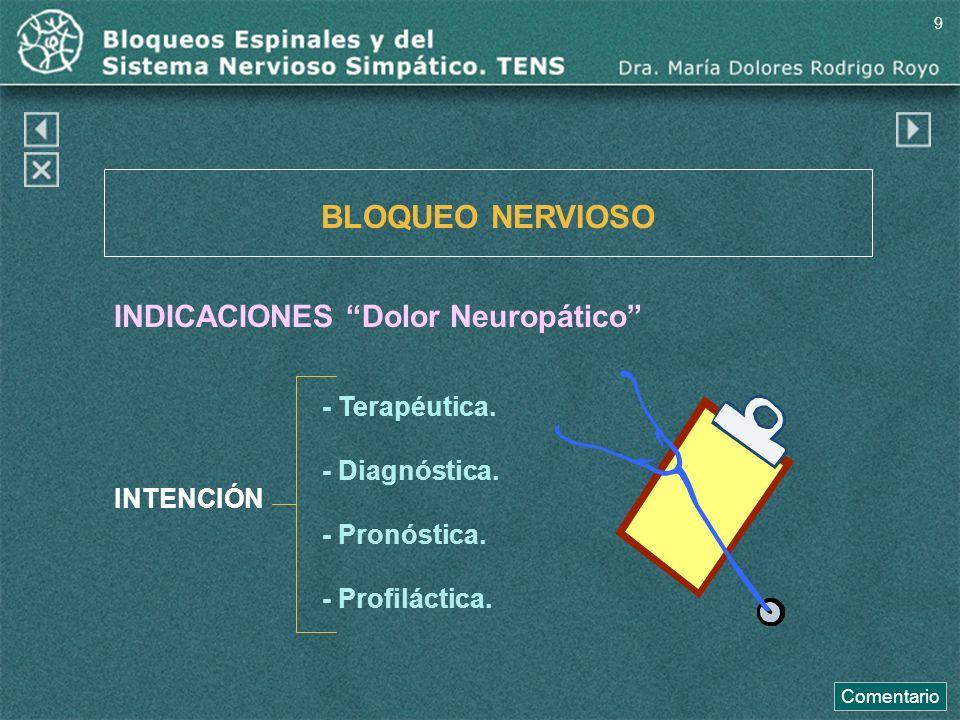 BLOQUEO NERVIOSO INDICACIONES Dolor Neuropático INTENCIÓN - Terapéutica. - Diagnóstica. - Pronóstica. - Profiláctica. Comentario 9