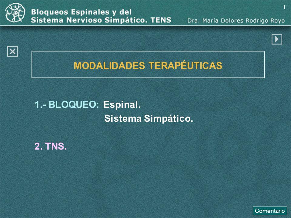 1.- BLOQUEO: Espinal. Sistema Simpático. 2. TNS. MODALIDADES TERAPÉUTICAS Comentario 1