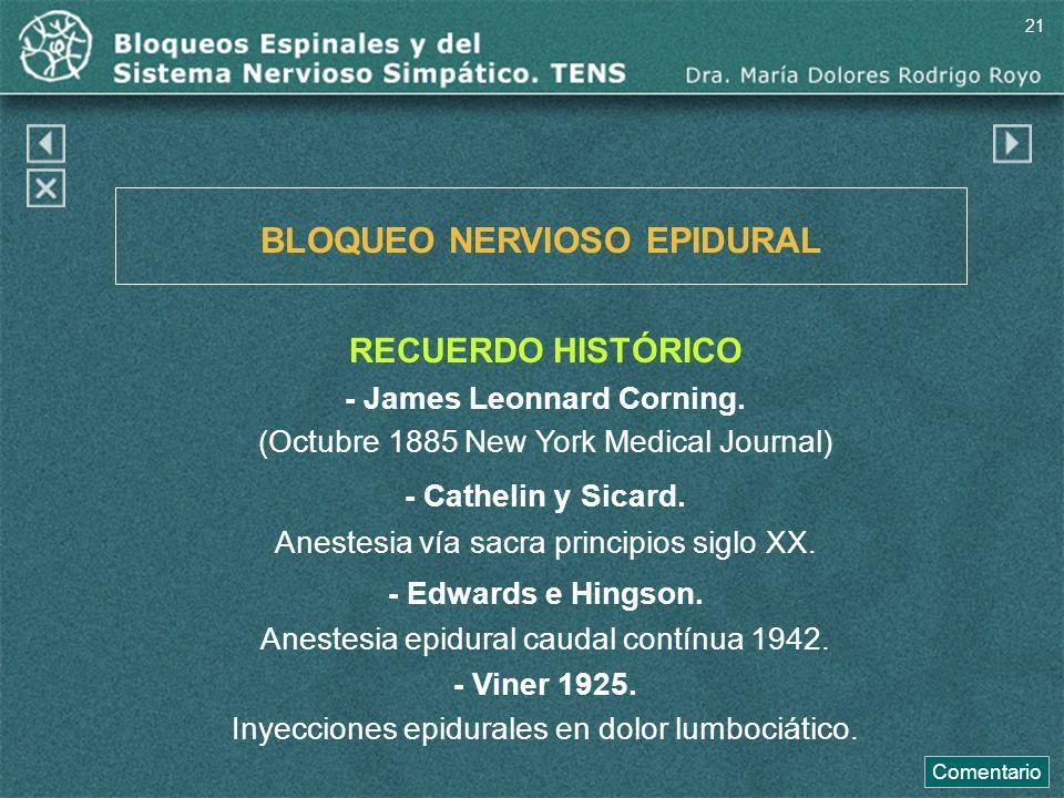 BLOQUEO NERVIOSO EPIDURAL RECUERDO HISTÓRICO - James Leonnard Corning. (Octubre 1885 New York Medical Journal) - Cathelin y Sicard. Anestesia vía sacr