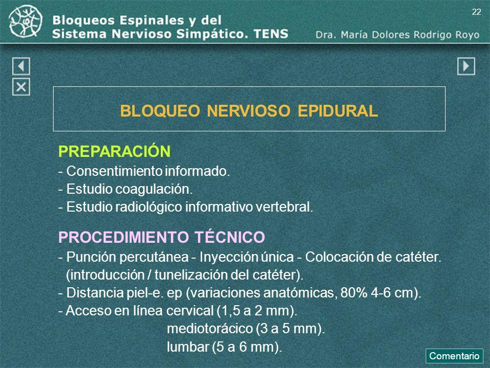 BLOQUEO NERVIOSO EPIDURAL PREPARACIÓN - Consentimiento informado. - Estudio coagulación. - Estudio radiológico informativo vertebral. PROCEDIMIENTO TÉ
