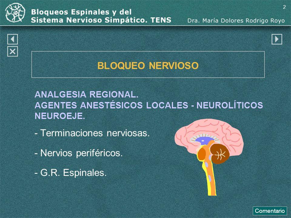 Comentario a la diapo42 El mecanismo de acción está basado en la actuación de los fármacos administrados sobre los nervios raquídeos mixtos, ganglios espinales posteriores, raices raquídeas y médula espinal.