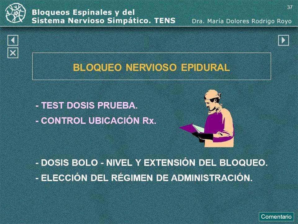 BLOQUEO NERVIOSO EPIDURAL - TEST DOSIS PRUEBA. - CONTROL UBICACIÓN Rx. - DOSIS BOLO - NIVEL Y EXTENSIÓN DEL BLOQUEO. - ELECCIÓN DEL RÉGIMEN DE ADMINIS