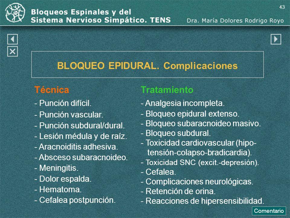 BLOQUEO EPIDURAL. Complicaciones Técnica - Punción difícil. - Punción vascular. - Punción subdural/dural. - Lesión médula y de raíz. - Aracnoiditis ad