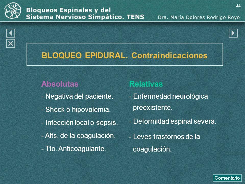 BLOQUEO EPIDURAL. Contraindicaciones Absolutas - Negativa del paciente. - Shock o hipovolemia. - Infección local o sepsis. - Alts. de la coagulación.