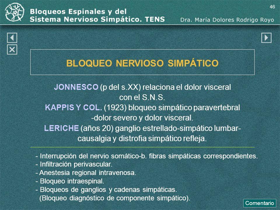 BLOQUEO NERVIOSO SIMPÁTICO JONNESCO (p del s.XX) relaciona el dolor visceral con el S.N.S. KAPPIS Y COL. (1923) bloqueo simpático paravertebral -dolor
