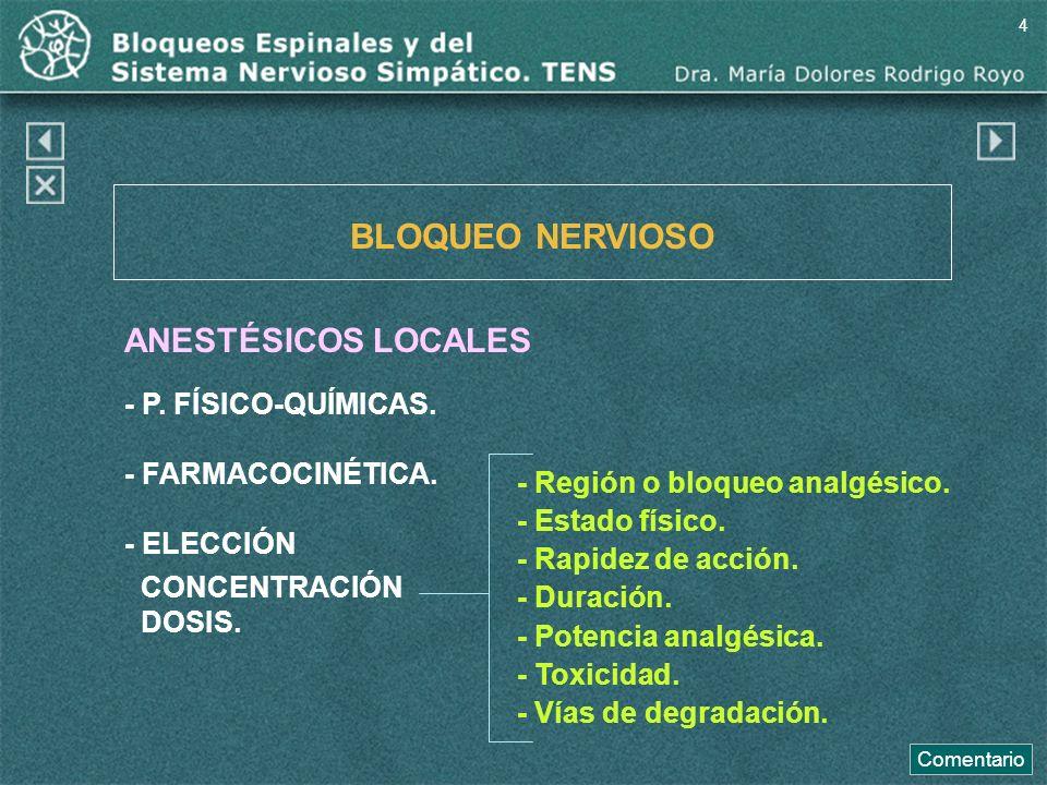 BLOQUEO NERVIOSO ANESTÉSICOS LOCALES - P. FÍSICO-QUÍMICAS. - FARMACOCINÉTICA. - ELECCIÓN CONCENTRACIÓN DOSIS. - Región o bloqueo analgésico. - Estado