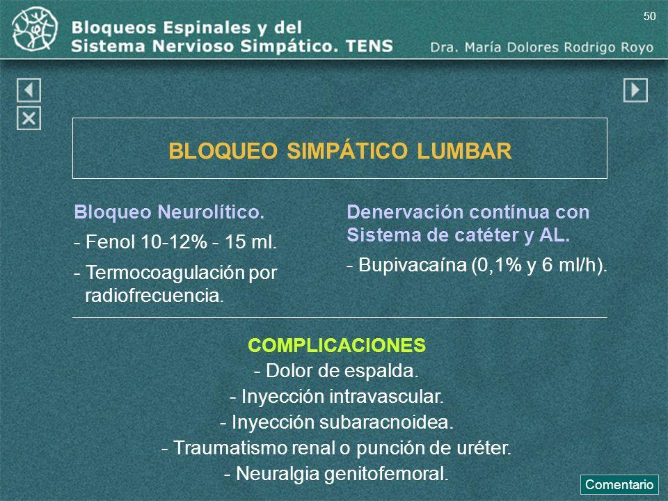 BLOQUEO SIMPÁTICO LUMBAR Bloqueo Neurolítico. - Fenol 10-12% - 15 ml. - Termocoagulación por radiofrecuencia. COMPLICACIONES - Dolor de espalda. - Iny