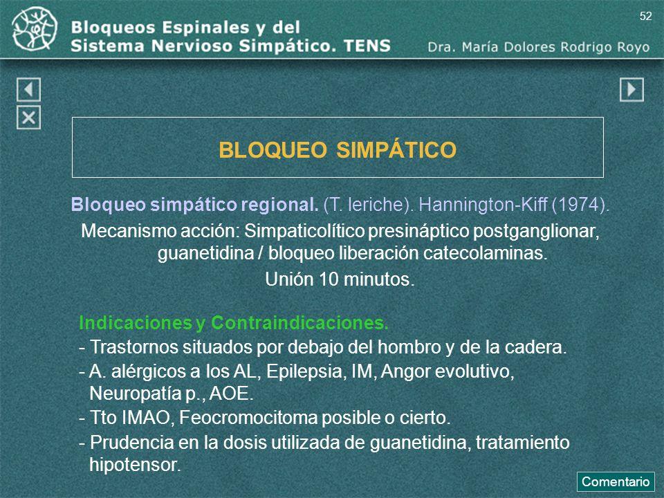BLOQUEO SIMPÁTICO Bloqueo simpático regional. (T. leriche). Hannington-Kiff (1974). Mecanismo acción: Simpaticolítico presináptico postganglionar, gua