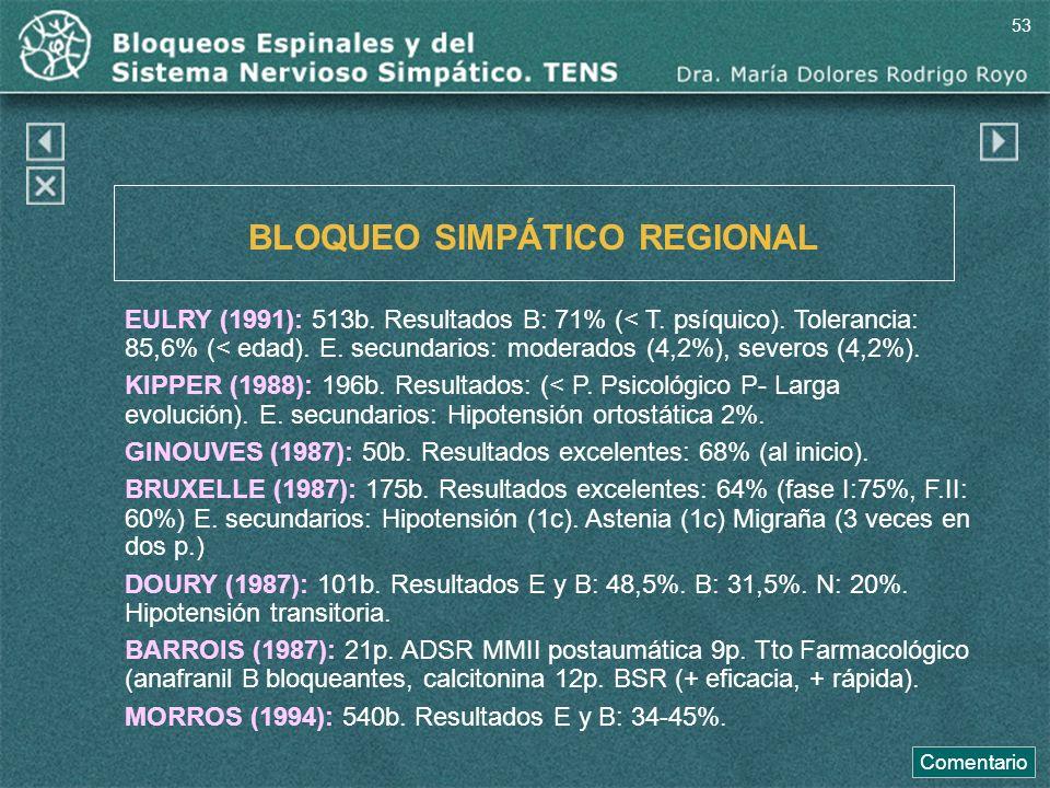BLOQUEO SIMPÁTICO REGIONAL EULRY (1991): 513b. Resultados B: 71% (< T. psíquico). Tolerancia: 85,6% (< edad). E. secundarios: moderados (4,2%), severo