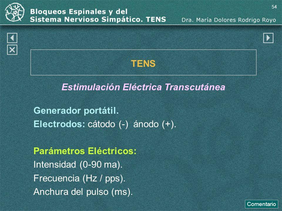 Generador portátil. Electrodos: cátodo (-) ánodo (+). Parámetros Eléctricos: Intensidad (0-90 ma). Frecuencia (Hz / pps). Anchura del pulso (ms). TENS
