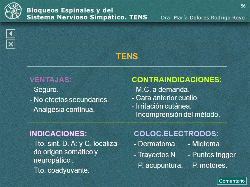 VENTAJAS: - Seguro. - No efectos secundarios. - Analgesia contínua. TENS CONTRAINDICACIONES: - M.C. a demanda. - Cara anterior cuello - Irritación cut