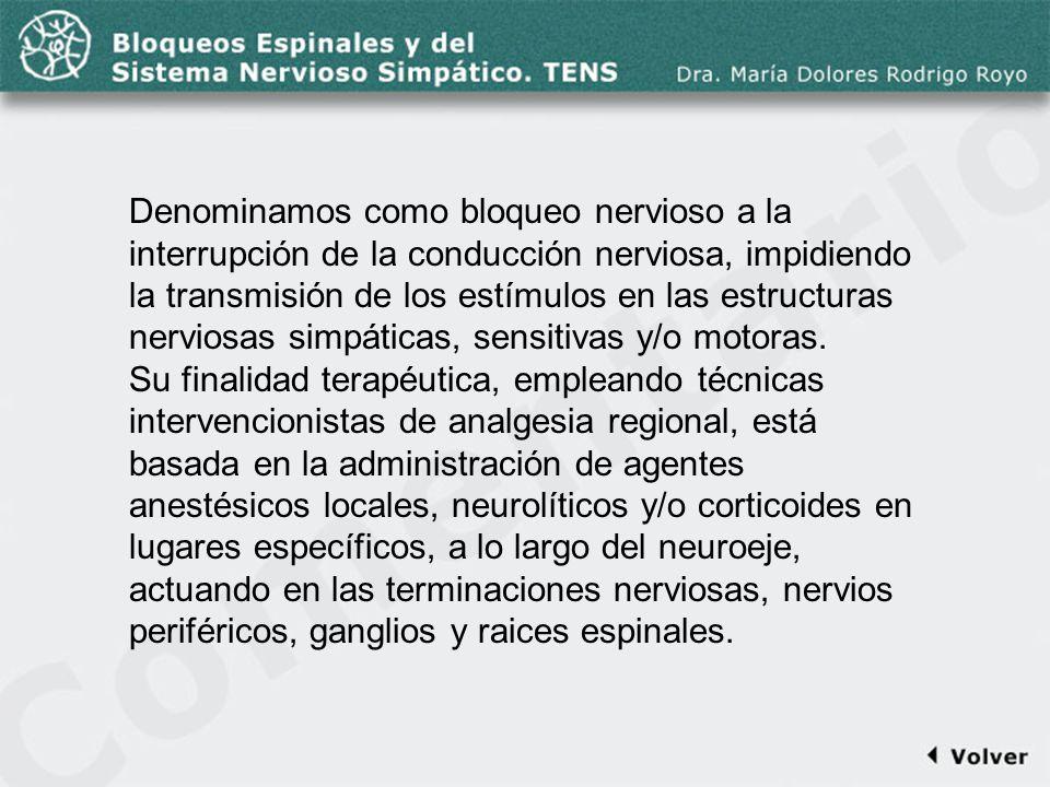 Comentario a la diapo3 Denominamos como bloqueo nervioso a la interrupción de la conducción nerviosa, impidiendo la transmisión de los estímulos en la