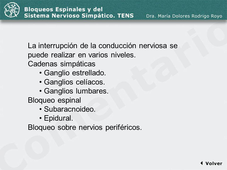 Comentario a la diapo4 La interrupción de la conducción nerviosa se puede realizar en varios niveles. Cadenas simpáticas Ganglio estrellado. Ganglios