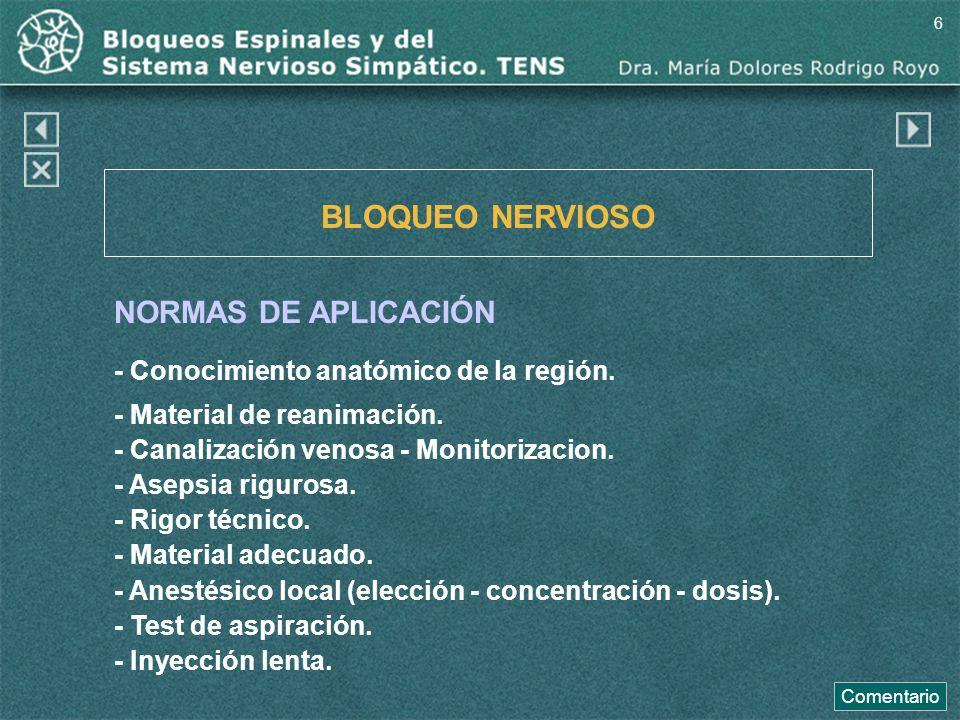 BLOQUEO NERVIOSO NORMAS DE APLICACIÓN - Conocimiento anatómico de la región. - Material de reanimación. - Canalización venosa - Monitorizacion. - Asep