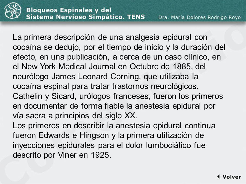 Comentario a la diapo22 La primera descripción de una analgesia epidural con cocaína se dedujo, por el tiempo de inicio y la duración del efecto, en u
