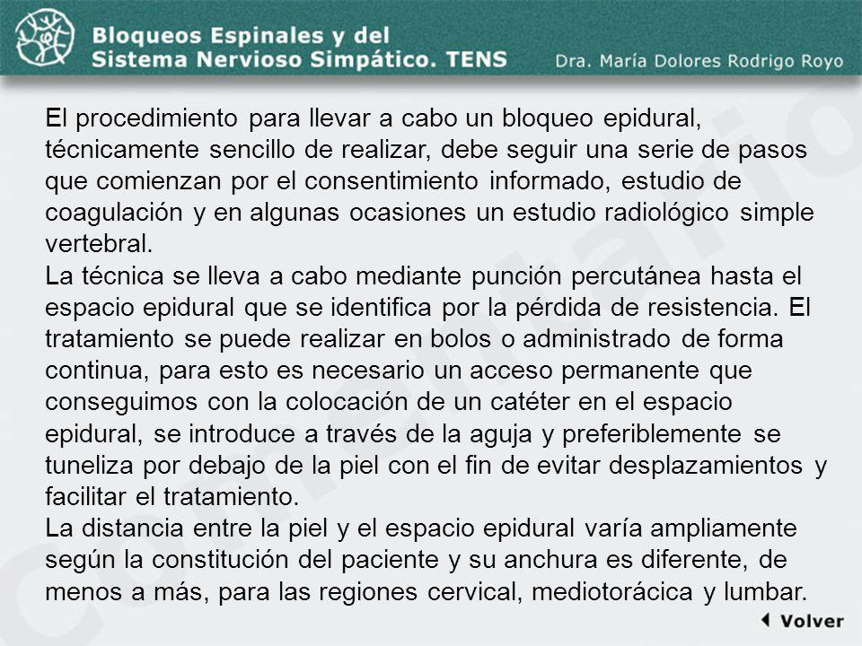 Comentario a la diapo23 El procedimiento para llevar a cabo un bloqueo epidural, técnicamente sencillo de realizar, debe seguir una serie de pasos que