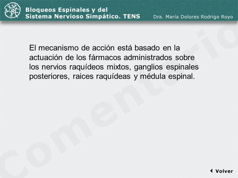 Comentario a la diapo42 El mecanismo de acción está basado en la actuación de los fármacos administrados sobre los nervios raquídeos mixtos, ganglios