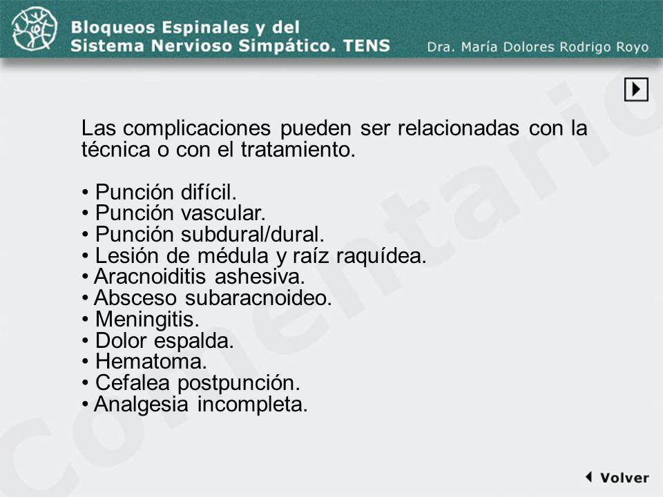 Comentario a la diapo44-1 Las complicaciones pueden ser relacionadas con la técnica o con el tratamiento. Punción difícil. Punción vascular. Punción s