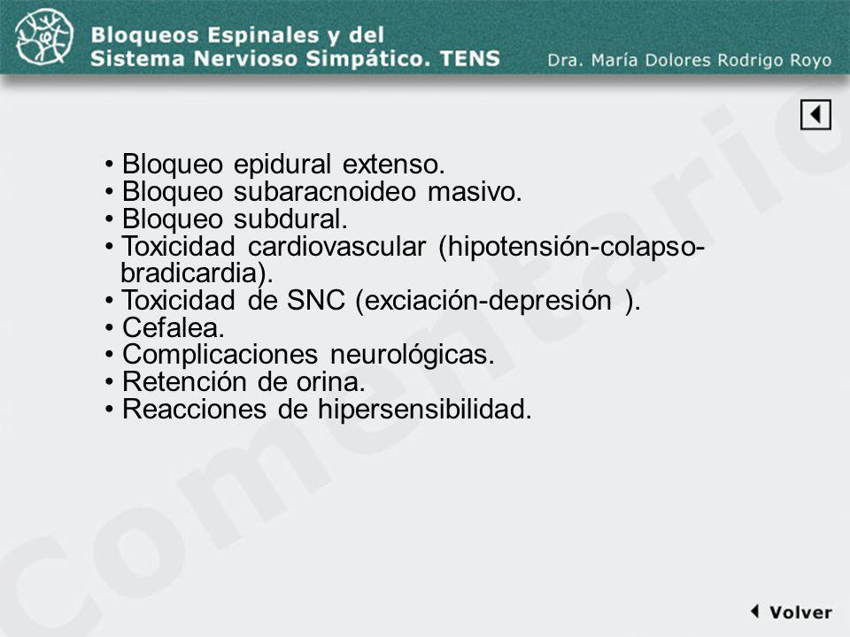 Comentario a la diapo44-2 Bloqueo epidural extenso. Bloqueo subaracnoideo masivo. Bloqueo subdural. Toxicidad cardiovascular (hipotensión-colapso- bra