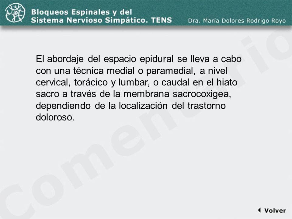 Comentario a la diapo46 El abordaje del espacio epidural se lleva a cabo con una técnica medial o paramedial, a nivel cervical, torácico y lumbar, o c