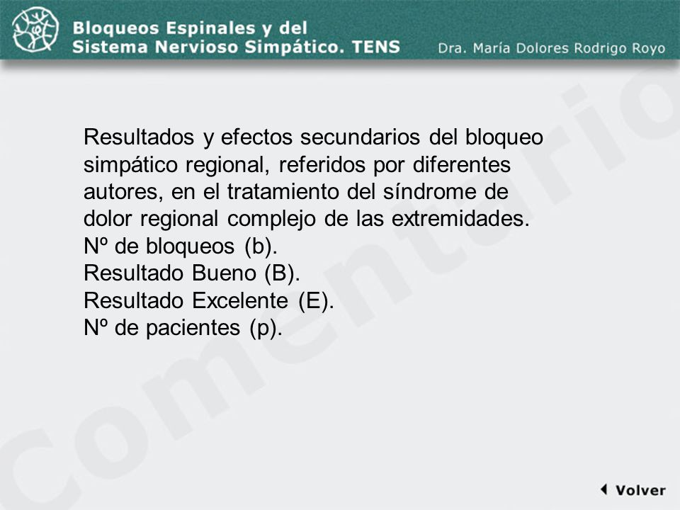 Comentario a la diapo54 Resultados y efectos secundarios del bloqueo simpático regional, referidos por diferentes autores, en el tratamiento del síndr