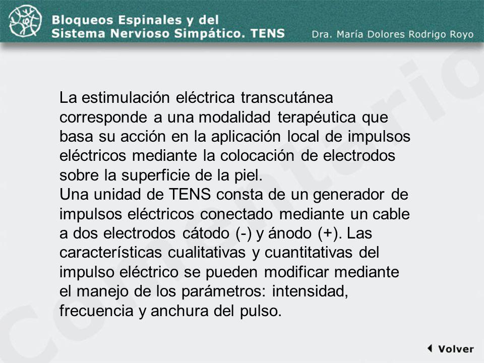 Comentario a la diapo55 La estimulación eléctrica transcutánea corresponde a una modalidad terapéutica que basa su acción en la aplicación local de im