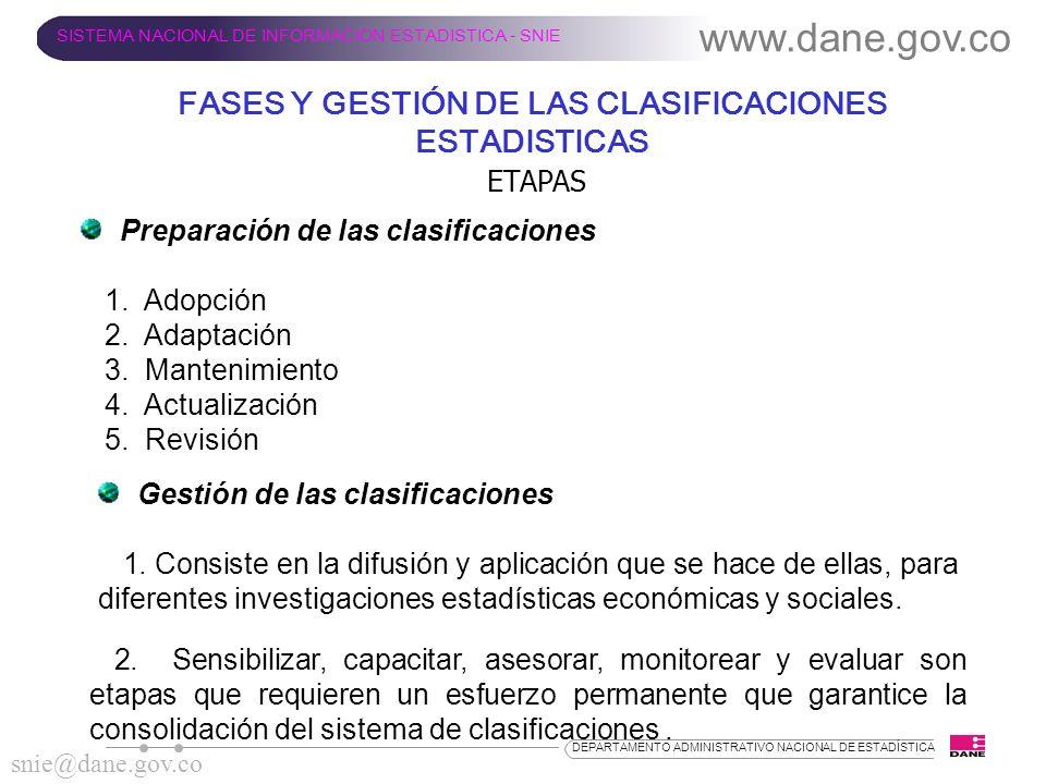 ETAPAS Preparación de las clasificaciones 1. Adopción 2. Adaptación 3. Mantenimiento 4. Actualización 5. Revisión www.dane.gov.co SISTEMA NACIONAL DE
