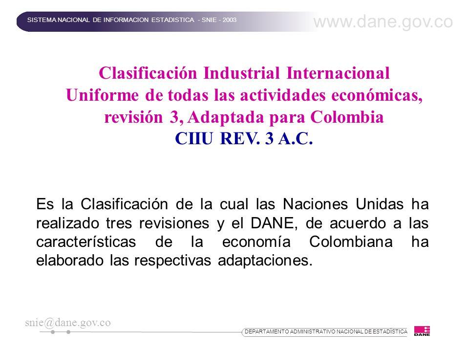 DEPARTAMENTO ADMINISTRATIVO NACIONAL DE ESTADÍSTICA Clasificación Industrial Internacional Uniforme de todas las actividades económicas, revisión 3, A