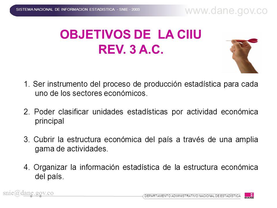 DEPARTAMENTO ADMINISTRATIVO NACIONAL DE ESTADÍSTICA OBJETIVOS DE LA CIIU REV. 3 A.C. 1. Ser instrumento del proceso de producción estadística para cad